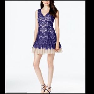 🍂 Betsey & Adam lace tulle Dress fit & flare cute